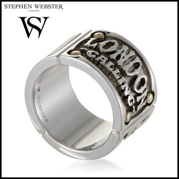 Stephen Webster London Calling Gold Plated Silver and Onyx Band Ring Size 8.75