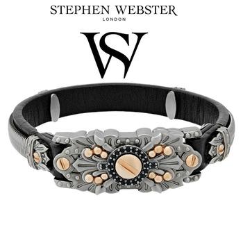 Stephen Webster No Regrets Sterling Silver Gold Plated Leather Bracelet