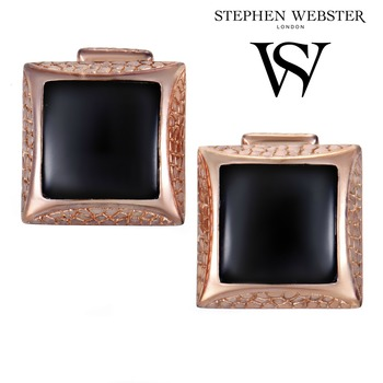 Stephen Webster Rayman Silver Rose Gold Plated Onyx Square Cufflinks