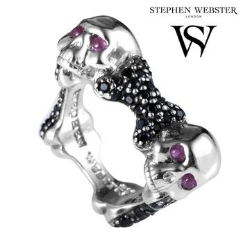 Stephen Webster Skull & Bones Solid .925 Sterling Silver Genuine Ruby & Black Sapphire Unisex Ring Size 8