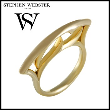 Stephen Webster Thorn Womens Yellow Gold Plated Silver Stacking Ring Size 7.25