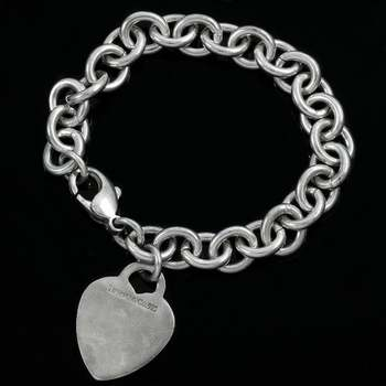 Tiffany & Co., Solid .925 Sterling Silver Heart Tag Charm Bracelet