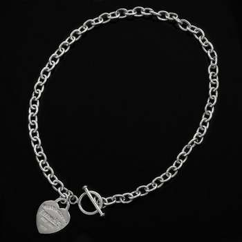 Tiffany & Co., Solid .925 Sterling Silver Heart Tag Charm Necklace