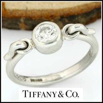 Tiffany & Co-Elsa Peretti -Platinum (950) - 0.25 ct Round Cut Diamond, Ring Size: 4