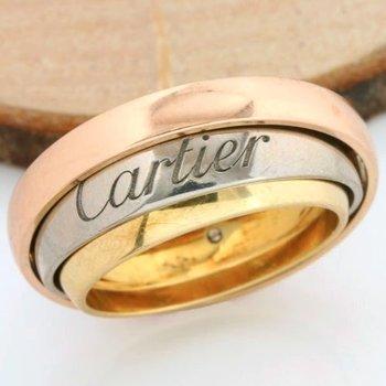 """Tourbillon Trinity De Cartier"" - 18kt/750 Three Color Gold Ring; Size: 7.5"