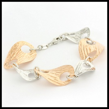 Two-Tone Oval Links Bracelet with 18k Rose Gold over Sterling Silver