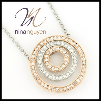 White & Rose Gold over Sterling Silver Designer Nina Nguyen White Topaz Necklace