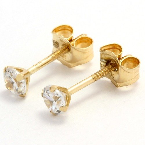 14k Yellow Gold 0 25ctw Genuine White Topaz Stud Earrings