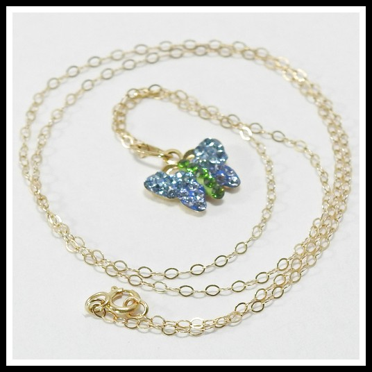 6e1b4e207e999 Solid 10k Yellow Gold, 0.40ctw Swarovski Crystal Butterfly Necklace ...