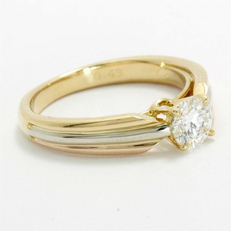 ceb61dba6b28a Estate Cartier Solid 18k Tri-color Gold G-VS1 Diamond Solitaire ...