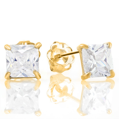 Solid 10k Yellow Gold Princess Cut 2 07ctw Diamonique Stud Earrings