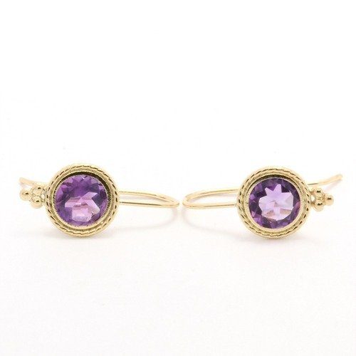 Solid 14k Yellow Gold 2 00ctw Genuine Amethyst Earrings