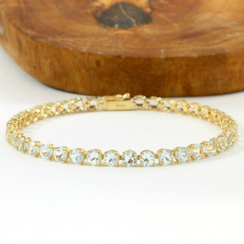 Solid 14k Yellow Gold 9 50ctw Genuine Aquamarine Tennis Bracelet