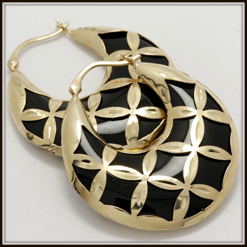 Solid 14k Yellow Gold Black Onyx Hoop Earrings