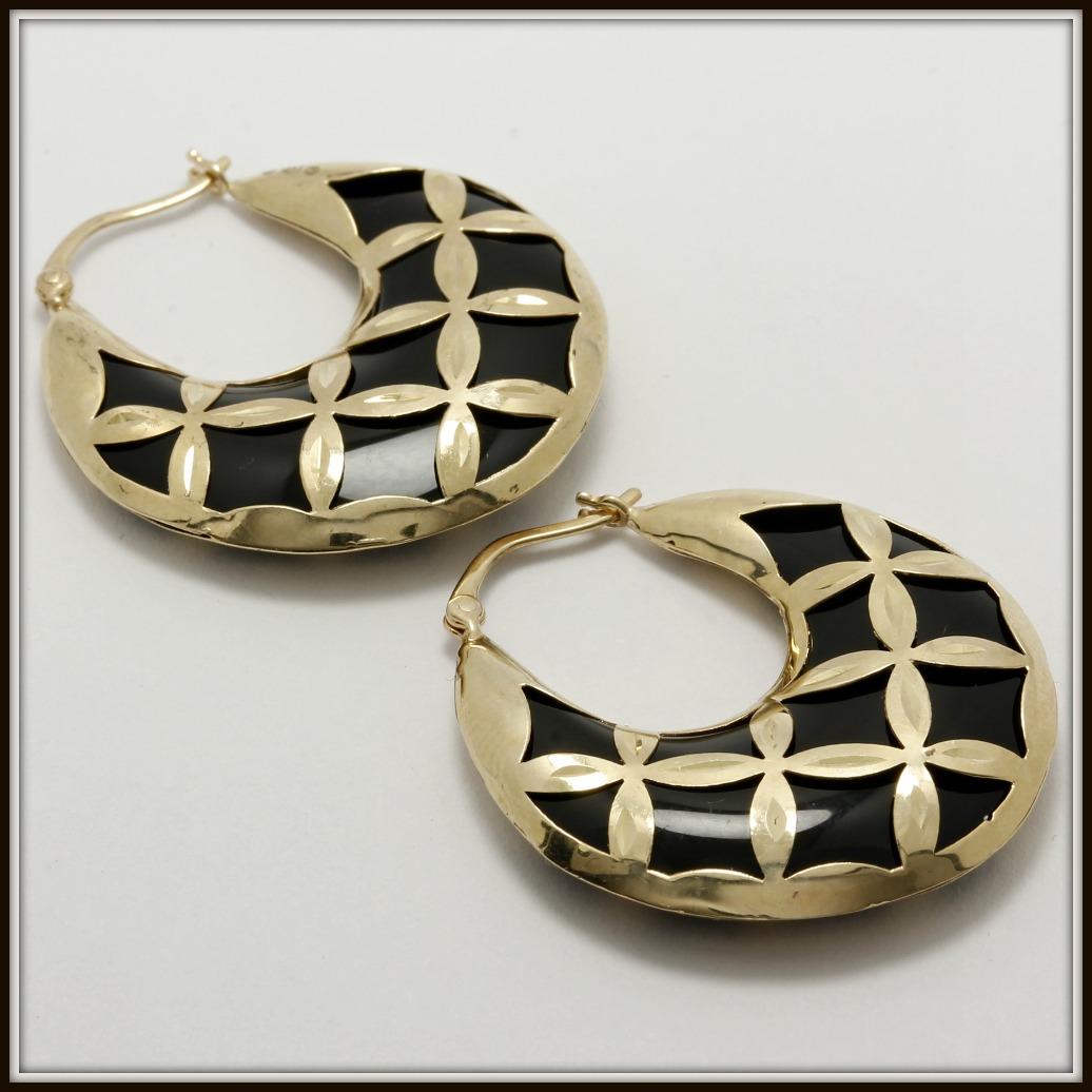 Solid 14k Yellow Gold Black Onyx Hoop Earrings Property Room