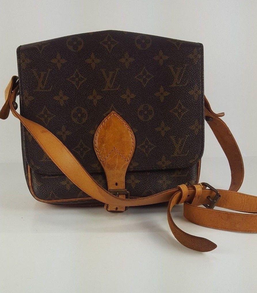 25aee9e07477 Authentic Louis Vuitton Monogram Canvas leather Cartouchiere MM Shoulder  Crossbody Bag