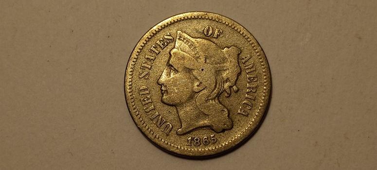 1865 3c Three Cent Nickel