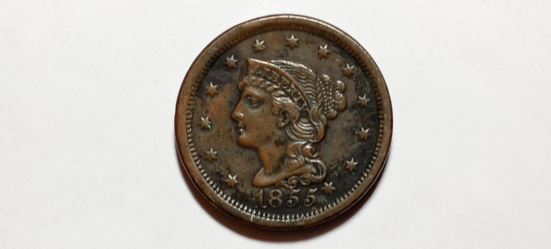 "1855 Large Cent ""Knob"" High Grade Rare Variety"