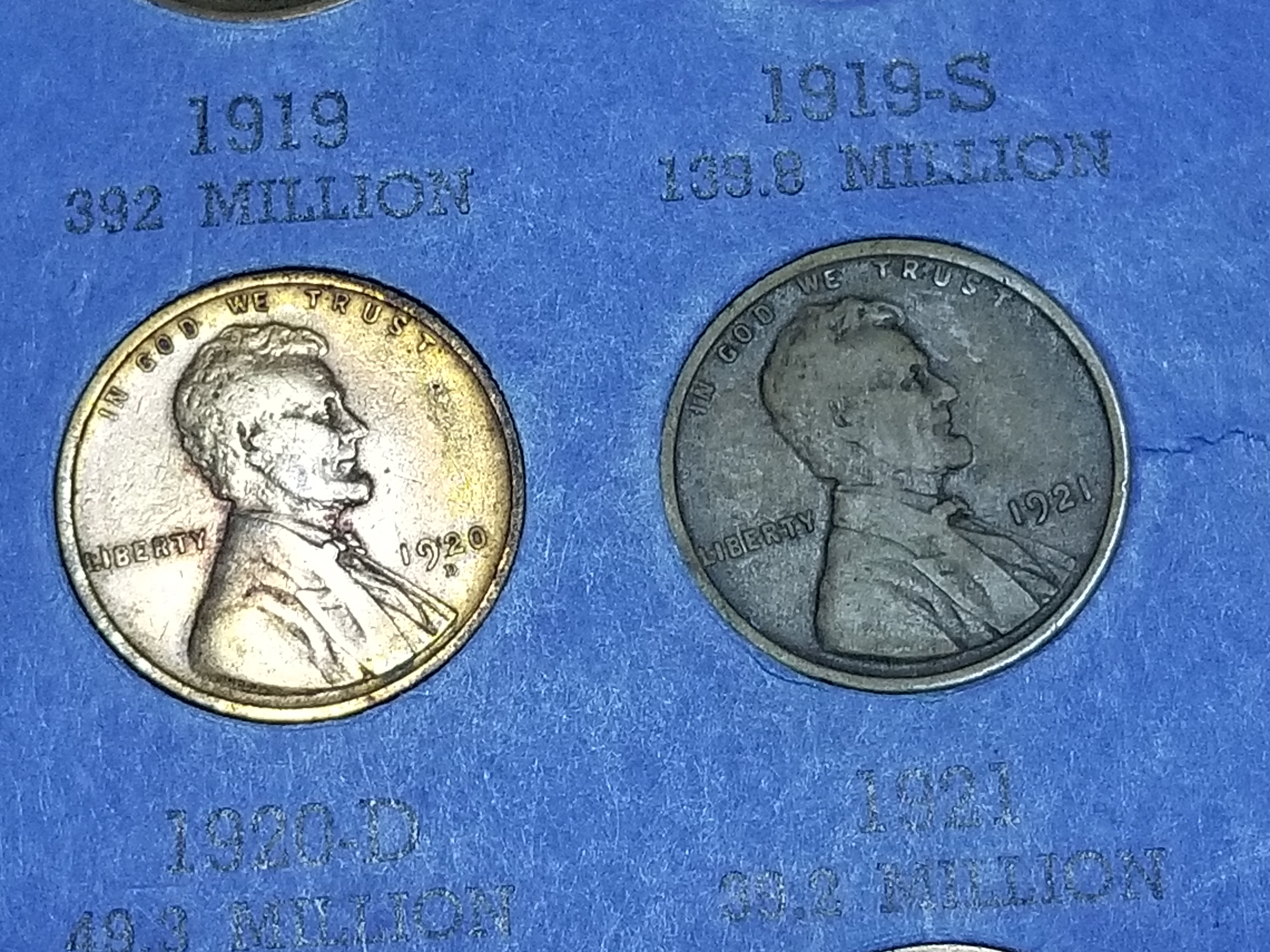 1920 PDS and 1921 Lincoln Cent Wheat Pennies from a Complete