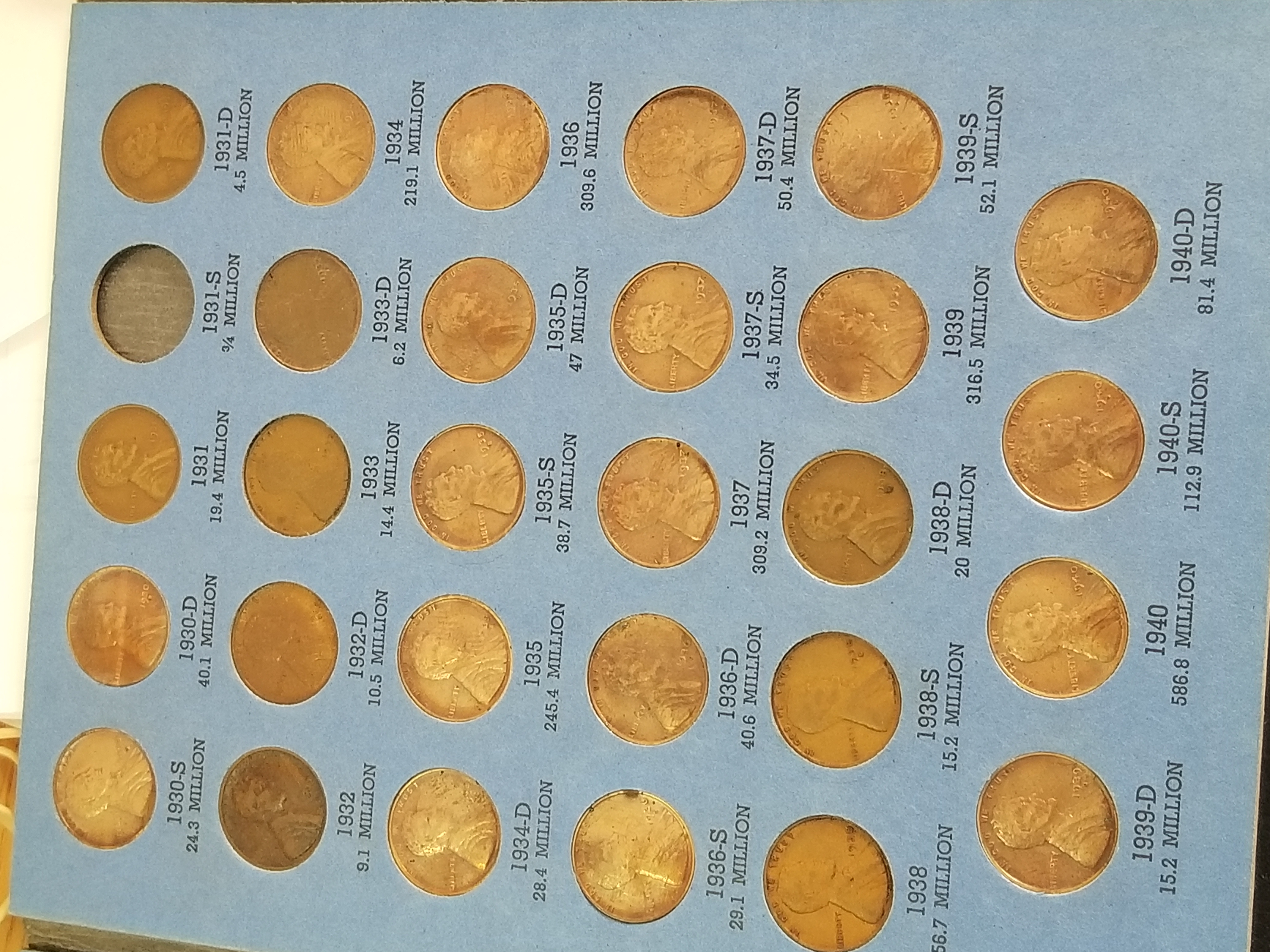 1930 S-1940 D Lincoln Cent Wheat Pennies from a Complete Set 28