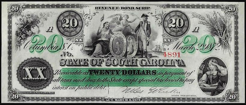 1872 $20 State of South Carolina Revenue Bond Obsolete Note