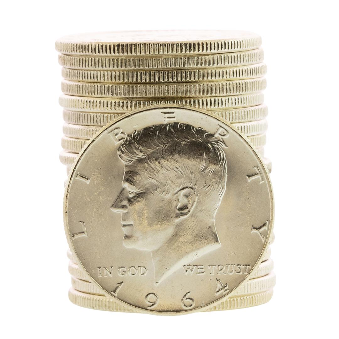 20 Coins BU 1964 Kennedy Half Dollar Roll Brilliant Uncirculated