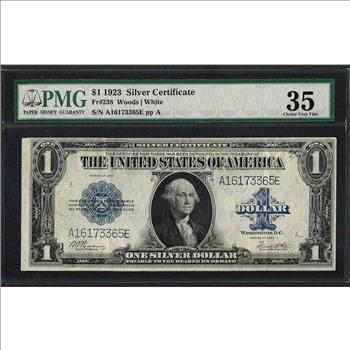 1923 $1 Silver Certificate Note Fr.238 PMG Choice Very Fine 35 ...