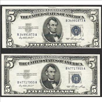Lot of (2) 1953 $5 Silver Certificate Notes | Property Room
