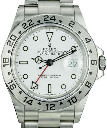 Rolex Mens Explorer II 16570 Stainless Steel White Dial 40mm with papers