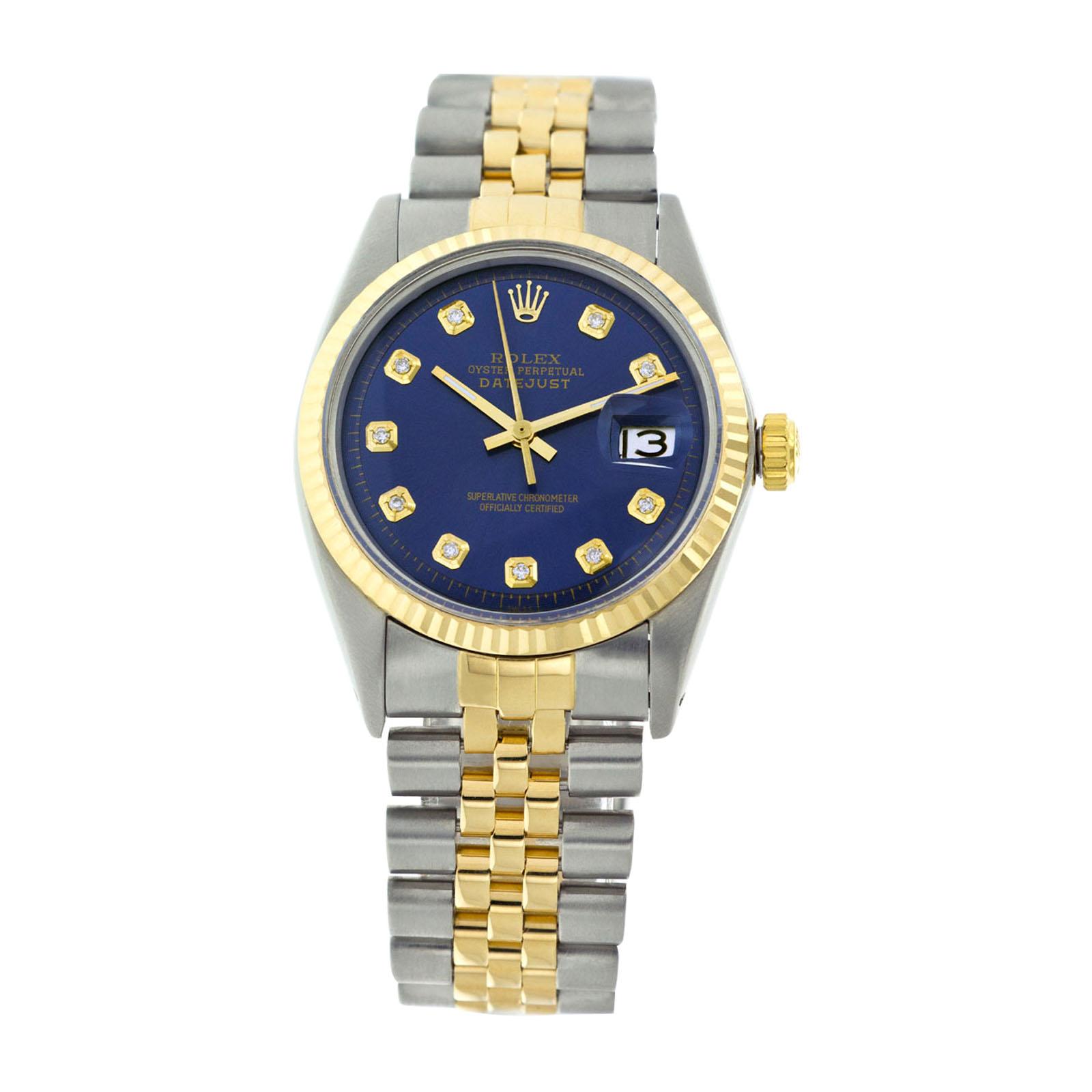 e340c9f67f0 Rolex Mens Datejust 16013 Blue Diamond Dial Fluted Bezel 36mm Watch ...