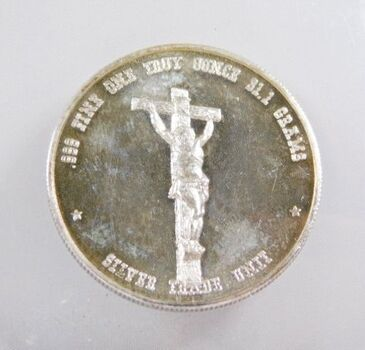 1 oz .999 Fine Silver Pope John Paul II - Jesus on Cross - Commemorative Silver Trade Unit