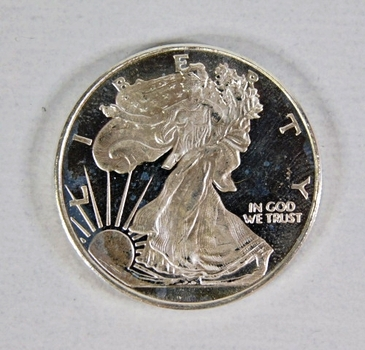 1/2 Troy Ounce .999 Fine Silver Round*Design is like a Walking Liberty*Money Metals Exchange