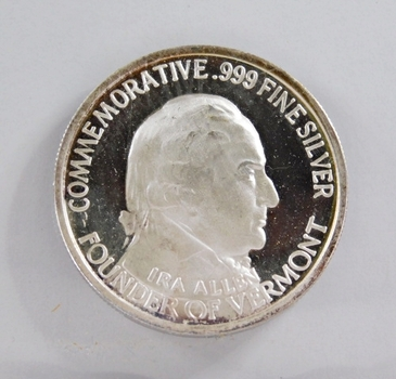 1777/1927 Vermont Commemorative - Ira Allen; Founder - 1 Troy oz .999 Fine Proof Silver Round