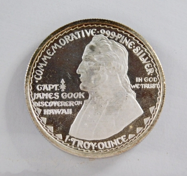 1778/1928 Capt. James Cook; Discoverer of Hawaii Commemorative - 1 Troy oz .999 Fine Proof Silver Round