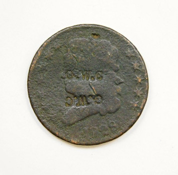 1828 US Half Cent w/Early 1800's Merchant Counterstamp