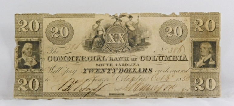 1850 $20 Commercial Bank of Columbia South Carolina Obsolete Broken Bank Note - Original Hand Signed and Numbered