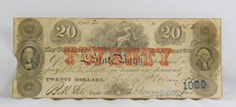 1851 $20 President/Directors State Bank Charleston, South Carolina Obsolete Broken Bank Note - Original Hand Signed and Numbered