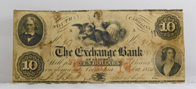 1854 $10 The Exchange Bank of Columbia South Carolina Obsolete Broken Bank Note - Original Hand Signed and Numbered