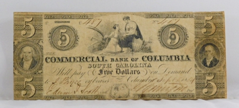 1854 $5 Commercial Bank of Columbia South Carolina Obsolete Broken Bank Note - Original Hand Signed and Numbered