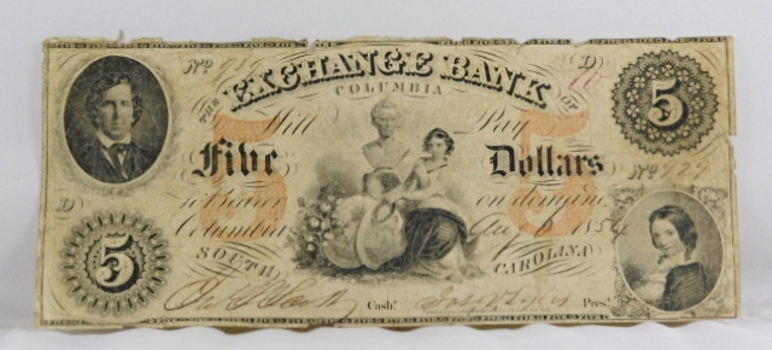 1854 $5 The Exchange Bank of Columbia South Carolina Obsolete Broken Bank Note - Original Hand Signed and Numbered