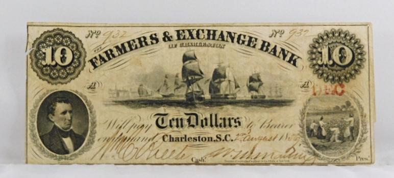 1856 $10 Farmer's & Exchange Bank of Charleston, South Carolina Obsolete Broken Bank Note - Original Hand Signed and Numbered