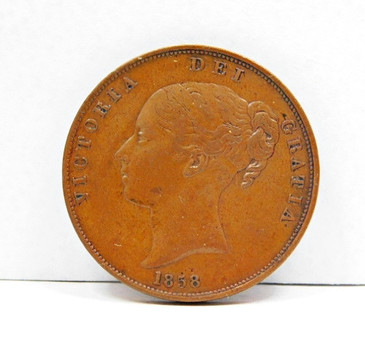 1858 Great Britain Large Penny - Rare Higher Grade Coin