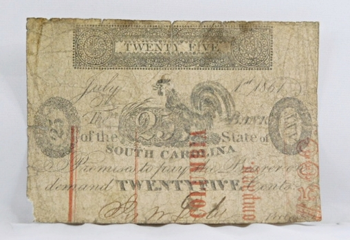 1861 Columbia State of South Carolina Obsolete Broken Bank 25 Cents Note - Original Hand Signed w/Greenville Back