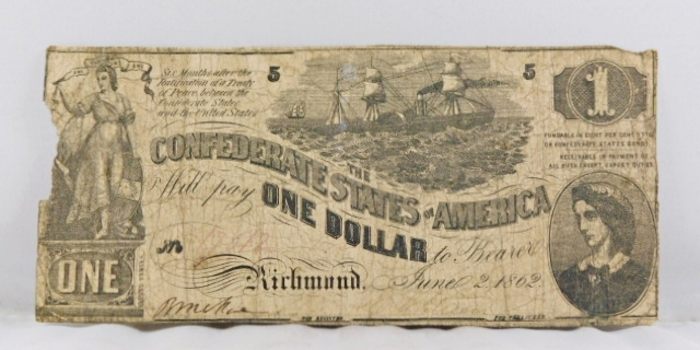 1862 Confederate States of America One Dollar Note*Richmond