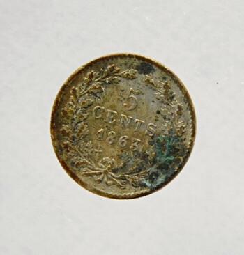 1863 Dutch Silver 5 Cent Coin Good Condition