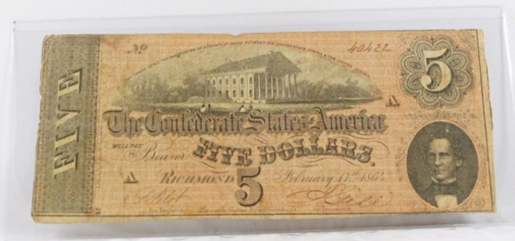 1864 Confederate States of America $5 Note*Richmond, Virginia