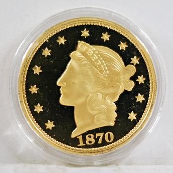 1870 24K Gold Layered $20 Liberty Head Replica*In Protective Capsule