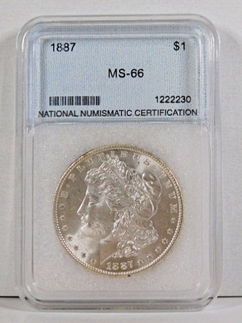 1887 Morgan Silver Dollar*Graded MS66 by NNC*.7734 ASW*Beautiful Coin in Custom Holder
