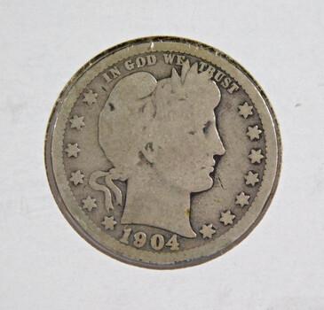 1904-O Silver Barber Quarter