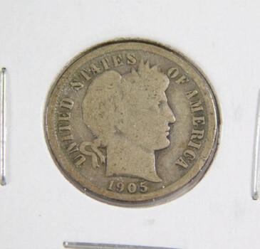 1905 Silver Barber Dime Better Grade